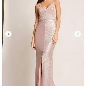 Pink Metallic maxi dress, elegant for occasions
